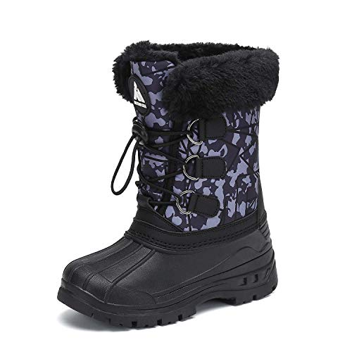 Mishansha Girls Boys Fur Lined Winter Snow Boots Warm Waterproof Non Slip Cold Weather Outdoor Hiking Shoes Grey 1