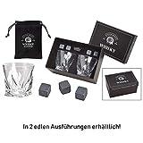 WOMA 4 Whisky Steine + 2 Whiskey Gläser + Samtbeutel in Edler Geschenkbox - Whiskeysteine aus 100%...