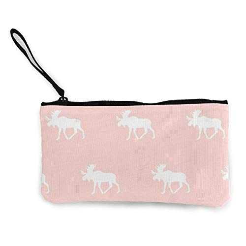 Canvas Coin Purse Moose Rose Women and Girls Cute Fashion Canvas Coin Purse Change Coin Bag Zipper Small Purse Wallets for Keychain Money Travel Pouches