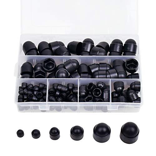 DEDC Gummi-Sechskantmutter-Abdeckung, Schraubenabdeckungen, Schraubenkappen, Kunststoff-Mutter-Sets mit Aufbewahrungsbox, 145 Stück, schwarz, M4, M5, M6, M8, M10, M12