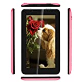 Haehne 7 Pouces Tablet PC - Google Android 6.0 Quad Core, Écran 1024 x 600, 1Go RAM 16Go ROM, Double Caméras 2.0MP+0.3MP, 2800mAh, WiFi, Bluetooth, Rose