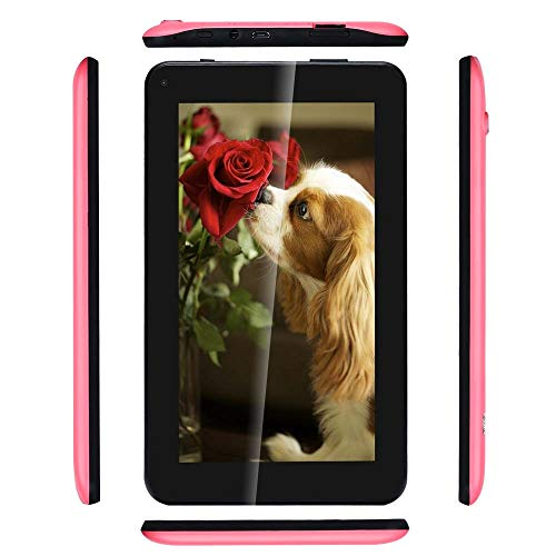 Haehne 7 Zoll Tablet PC - Google Android 6.0 Quad Core, Display 1024 x 600, 1GB RAM 16GB ROM, Dual Kameras 2.0MP + 0.3MP, 2800 mAh, WiFi, Bluetooth, Rosa