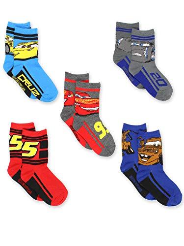 Disney Cars 3 Boys Toddler 5 pack Crew Socks (Shoe: 10-4 (Sock: 6-8), Grey/Multi Crew)