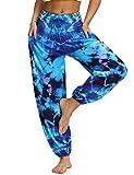 Irevial Pantalon Hippies Mujer Cintura Alta Pantalones de Estampados Bohemio Baggy Harem Deportivos Chandal Tallas Grandes Yoga Pants Verano