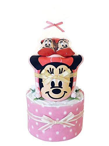 おむつケーキ ミニーマウス ディズニー スタイ&ベビーソックス付き 2段 女の子用 出産祝い (パンパースS)