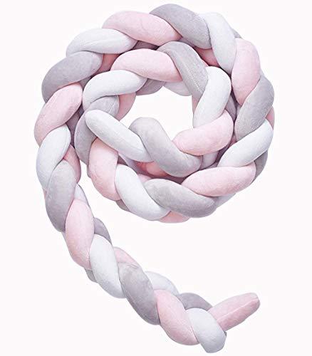 Tebery Bettschlange Baby Länge 2M geflochten Bettumrandung - Bettrolle für Babybett nestchen schlange Nestchenschlange Grau Zopf mit drei Strängen(Graues Rosa Weiß)