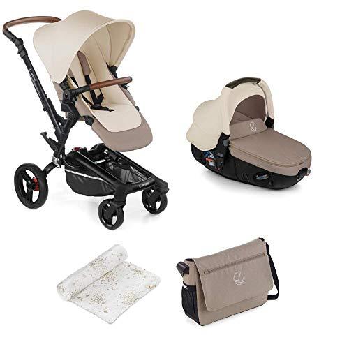 Jané Rider - Cochecito de bebe 2 piezas, silla de paseo y portabebé convertible matrix light 2, freno de mano, chasis de aluminio, plegado compacto, incluye bolso, unisex, color bronze