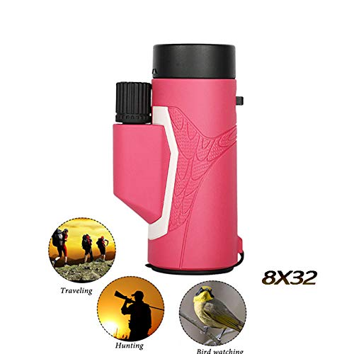 Buy Discount MAI&BAO Monocular 8×32 Zoom Portable Lightweight Monoculars Telescope Bak4 Prism for Wildlife Watching Birds Concert,Travelling Hiking,Camping,Fishing,Hunting,Pink