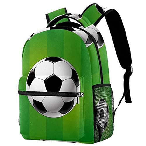 Leisure Campus - Mochilas de viaje con pelota de fútbol deportiva, color verde a rayas con soporte para botellas para niñas y niños