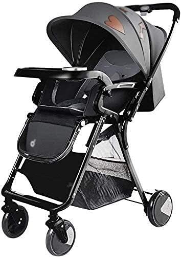 Cochecito de bebé Portátil Portátil Cochecito de carruaje liviano recién nacido Carruaje Bebé Cochecito plegable con un pliegue de mano compacto, ruedas con llave y capucha ajustable espaciosa