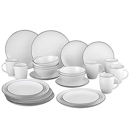 Van Well Black Star 24-TLG. Kombi-Service I Geschirr-Set & Kaffee-Service für 6 Personen I Frühstücks- & Speise-Teller Kaffeebecher Bowls I robust & pflegeleicht I Porzellan-Service schwarz-weiß