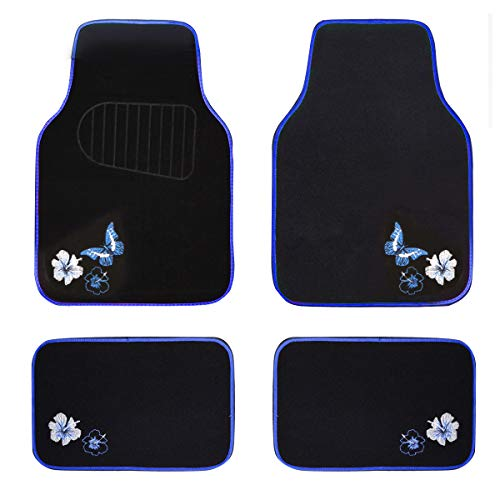 CAR PASS-Universal Fit Embroidery Butterfly and Flower Car Floor Mats,Universal fit for suvs,Trucks,sedans,Vans,Set of 4(Black with Blue)