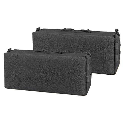 AMYIPO Tactical Pouch Molle Admin Utility Pouches Multi-Purpose Large Capacity Increment Pouch Attachment Military Pocket Tool Holder Short Trips Bag (Black (2pcs))