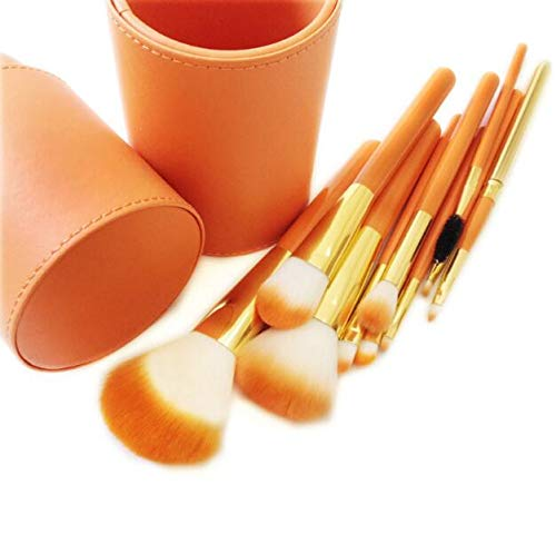 Make-up kwastenset, Professionele Make-up kwastenset, Blush Vloeibare Oogschaduwdoos, Eyeliner Concealer Contour Highlighter, Dames Make-up Brush (10 stuks) ORANJE