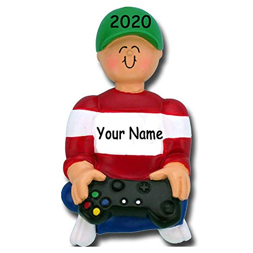 Personalized Video Game Player Gamer Christmas Tree Ornament with Your Choice of Name and Year
