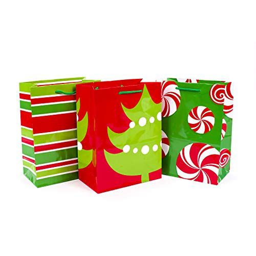 Hallmark 9' Medium Christmas Gift Bags with Handles (Pack of 3; Red and Green Christmas Tree, Peppermints, Stripes)