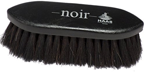 Haas Fellbürste - Noir - in schwarz mit 5 cm langen Rosshaarborsten Größe 17,5 x 5,5 cm