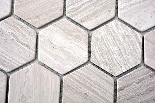 Mozaïek tegel marmer natuursteen Hexagon marmer grijs strepen MOS44-1205_m