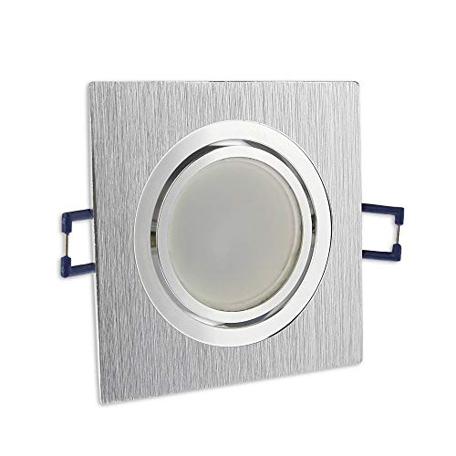 6x LED Einbaustrahler Set eckig - silber gebürstet 5 Watt warmweiß dimmbar 230V flach (30mm Tiefe) – Einbauleuchte schwenkbar 70mm Bohrloch – Einbau-Spot neu Decken-Strahler