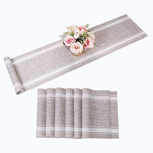 AMAZING1 Juego de 6 manteles individuales con para mesas de comedor y exteriores de vinilo lavables (1 camino de mesa y 6 manteles individuales, color blanco)