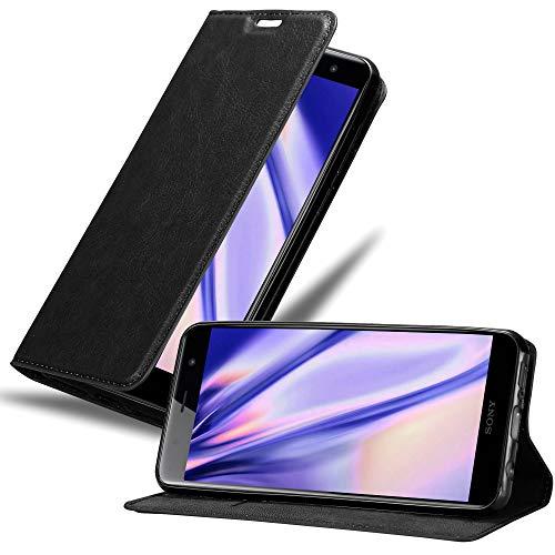 Cadorabo Hülle für Sony Xperia XZ2 Premium - Hülle in Nacht SCHWARZ – Handyhülle mit Magnetverschluss, Standfunktion & Kartenfach - Case Cover Schutzhülle Etui Tasche Book Klapp Style