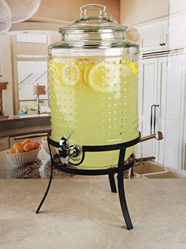 Circleware Vintage Hobnail Beverage Dispenser with Metal Stand Glass Lid amp Handle Fun Party Home Entertainment Glassware Water Pitcher for Juice Drinks Cold Beer 21 Gallon Dots