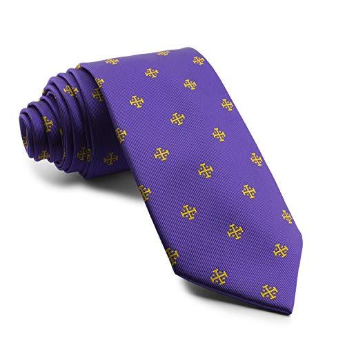 Cencibel Smart Casual Corbata Cruz de Jerusalén (Morado-Dorado)
