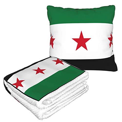 Kissen Decke Premium Samt Soft 2 in 1 Decke mit weicher Tasche Syrische Flagge Kissenbezug für Zuhause Flugzeug Auto Reisen Filme
