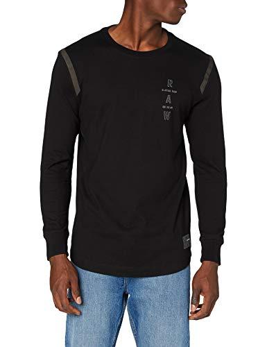 G-STAR RAW Tape Logo Lash Camiseta, dk Negro C444-6484, Large para Hombre