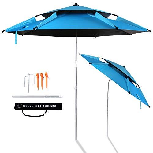 パラソル 釣り傘 ビーチパラソル 角度調節 収納バッグ付き UVカット チルト機能付 折り畳み式 フィッシングパラソル ガーデンパラソル ビーチ 日傘 日よけ 日除け (ブルー(直径220cm))