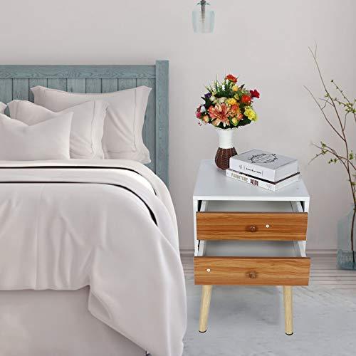 Cerlingwee Mesa Auxiliar, con 2 Capas de mesita de Noche de la Mesa del Dormitorio de los cajones para el Dormitorio