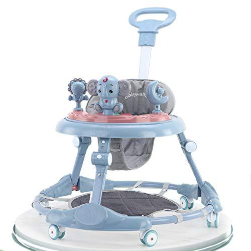 Olz Andador Plegable para Actividades para bebés con Almohadillas para los pies y manijas de Empuje para bebés y niñas pequeñas, 7 Altura Ajustable, Multifuncional Aprendizaje con música,Azul