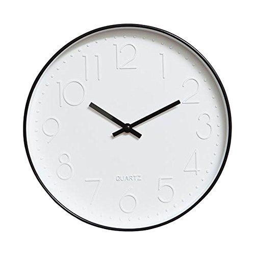 Dobess 12 Zoll Modern Quartz Lautlos Wanduhr Schleichende Sekunde ohne Ticken (Schwarz)