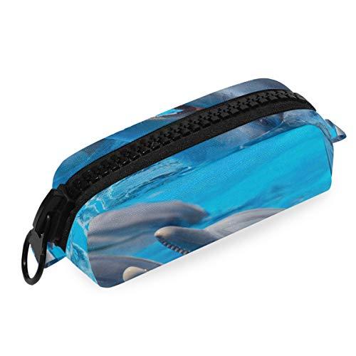 Bag grote ritssluiting bont 3 dolfijnen zwembad blauw water school pennenmapje kantoor tas pen