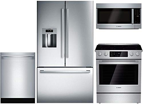 Bosch 4-Piece Stainless Steel Kitchen Package with B26FT50SNS 36' French Door Refrigerator, HEI8054U 30' Slide-in Electric Range, SHXM63W55N 24' Fully Integrated Dishwasher and HMV8053U 30' Over-the-R
