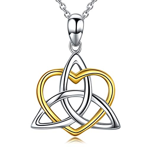 Celtic Knot Jewelry, Celtic Knot Necklace 925 Sterling Silver Triangle Irish Heart Pendant Necklace for Women, 18'