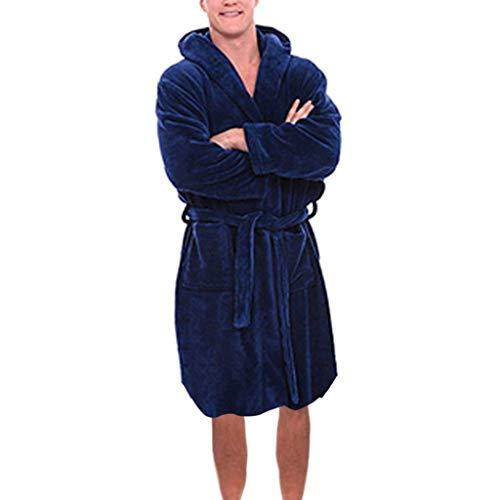 SPE969 Men's Hoodie Shawl Winter Plush Home Clothing,Lengthened Shawl Bathrobe X Long Sleeved Robe Coat