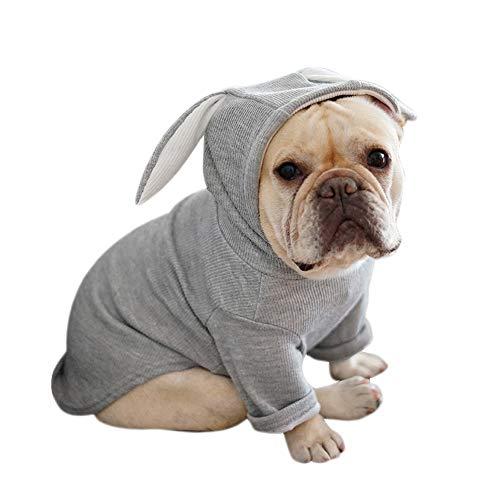 Greetuny Jersey Perro con Capucha con Orejas de Conejo Lindo Ropa de Perro Bulldog Frances Casual Hoodie de Mascotas (XL, Gris)