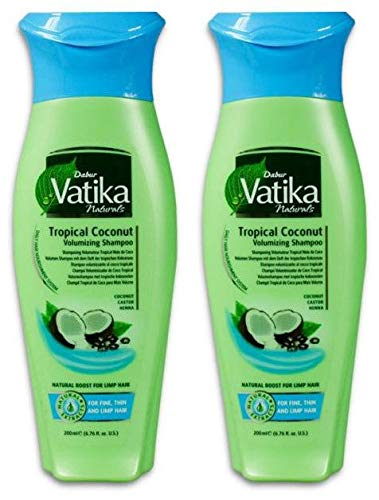 Dabur Vatika Naturals Tropical Coconut Tropische Kokosnuss Volumen Shampoo 200 m (2x 200ml)