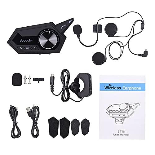 Montloxs Auriculares para Casco de Motocicleta Auriculares inalámbricos con BT 5.0 para Motocicleta con Soporte para micrófono Auriculares para Casco de Motor de Respuesta automática