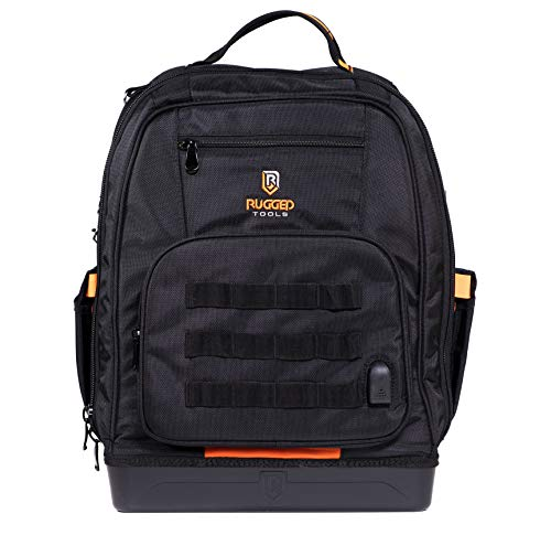 Rugged Tools Worksite Tool Backpack - 68 Pockets & Utility Organizers Including Laptop Sleeve - Heavy Duty Jobsite Tool Bag Perfect Storage & Organizer for a Contractor, Electrician, Plumber, HVAC