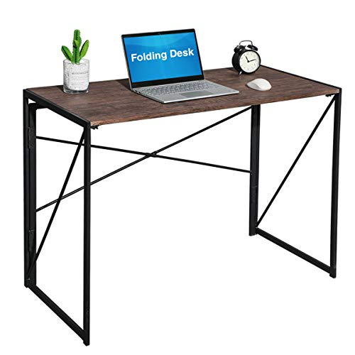 Folding Computer Desk No-Assembly Simple Study Desk Writing Table Home Office Desk for Adult & Kids 100x50x72 cm Walnut