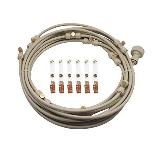 Yardwe Sistema de enfriamiento de nebulización Kit de nebulización del Ventilador Sistema de irrigación de nebulización Exterior Patio 6m línea de nebulización boquillas Abrazaderas (Beige)