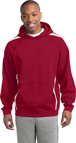 Sport-Tek - Sudadera con capucha para hombre, diseño de rayas, Hombre, 731281, Tr Red/White, XX-Large