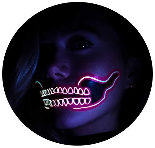 Tattoocrew 4 x Halloween Tattoos Totenkopf Neon Tattoo Farbe Pink Skull Glow in The Dark zum Aufkleben für das Gesicht