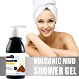 Volcanic Mud Shower Gel,Whole Body Deep Clean Fast Whitening Moisturizing Firming Skin, Natural Gently Exfoliate and Remove Blackheads-for All Skin Type (250ml, Black)