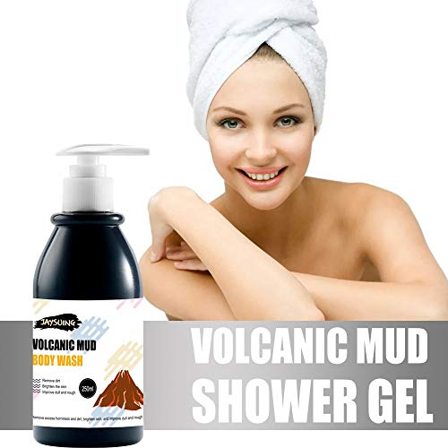 250MLVolcanic Mud Whitening Shower Gel, Deep Cleaning Moisturizing Shower Cream Smoothen Hydrate Firming Skin Bath Milk After-Sun Repair Arm Leg Whole Body Fresh Scent Summer Essential (1 x 250ML, Black)