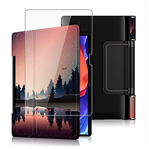 HHUAN Funda + Protector Pantalla para Lenovo Yoga Pad Pro 13' Pulgadas YT-K606F, con Soporte y Función Auto-Sueño/Estela Protectora Carcasa Case + 9H Dureza Cristal Templado - HH