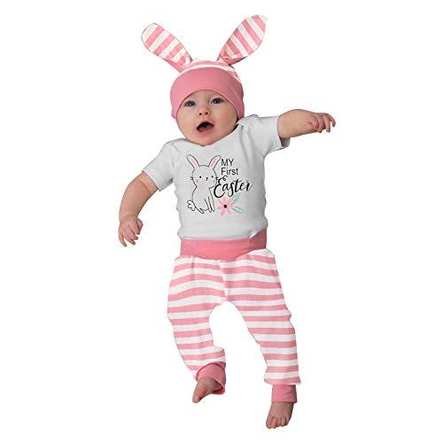 Mein erstes Ostern Baby Kleidung Set Neugeborenes Baby Mädchen Jungen Cartoon 3D Hasenohr Outfits Buny Hase Muster Romper Tops+ Streifen Hose+ Kaninchen Hut Ostern Neugeborenes Set