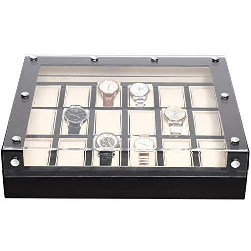 Cajas de colección con Tapa de Almacenamiento y Pantalla 18 Ranuras Caja de Reloj de Madera Maciza Organizador Caja de Reloj de Mesa de Madera Aparador Valet Bandeja Pulsera Funda de Almohada Regalo